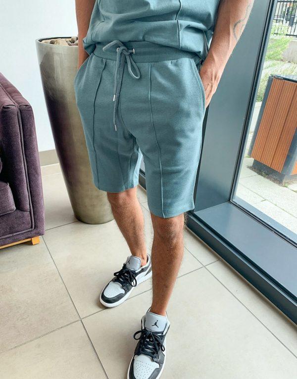 ASOS DESIGN jersey skinny shorts with pin tucks in blue gray-Grey