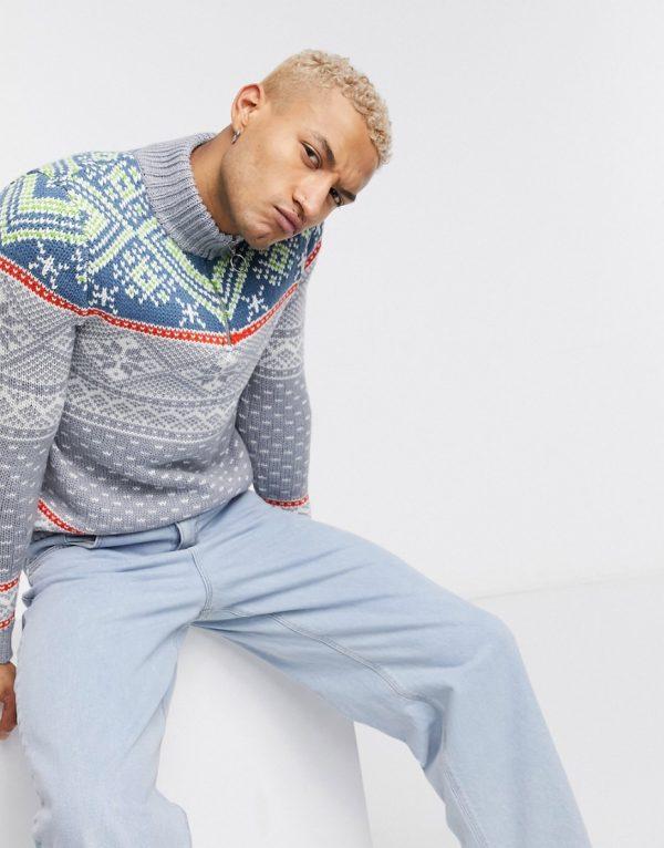 ASOS DESIGN knitted heavyweight half-zip sweater in gray-Grey