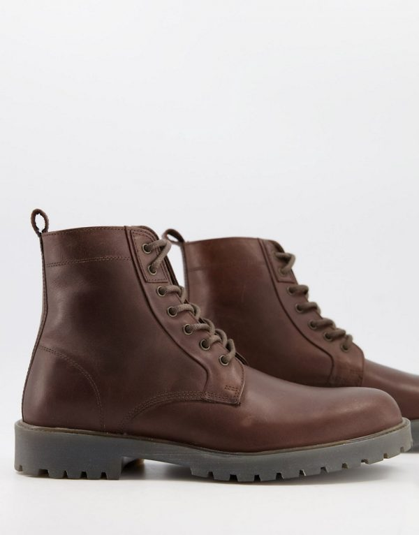 ASOS DESIGN lace up boots in brown leather with chunky sole