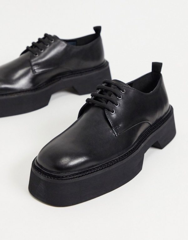 ASOS DESIGN lace up square toe shoes in black leather with block color chunky sole