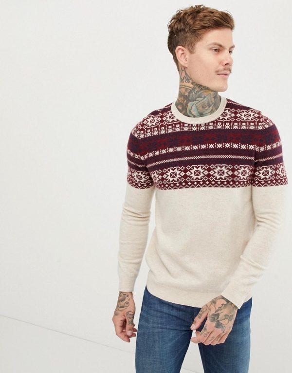 ASOS DESIGN lambswool blend fairisle sweater in beige-Cream
