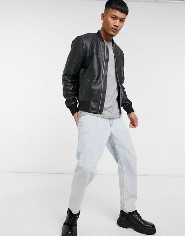 ASOS DESIGN leather bomber jacket with MA1 pocket in black