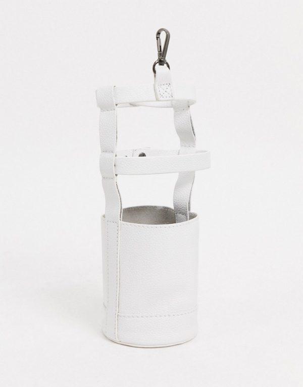 ASOS DESIGN leather cross-body water bottle holder in white