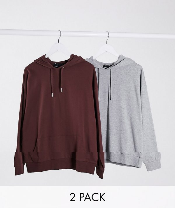 ASOS DESIGN lightweight oversized hoodie 2 pack in brown & gray heather-Multi