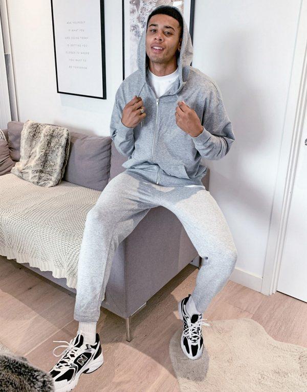 ASOS DESIGN lightweight oversized zip-up hoodie in gray marl-Grey