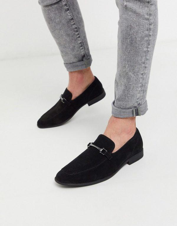 ASOS DESIGN loafers in black faux suede with snaffle detail