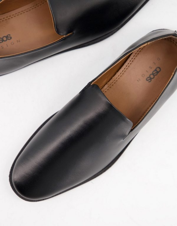 ASOS DESIGN loafers in black leather with wedge sole