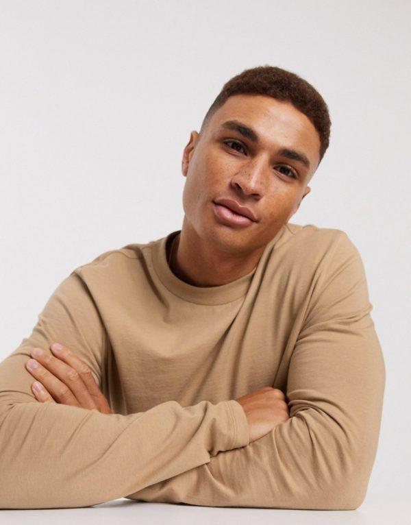 ASOS DESIGN long sleeve t-shirt in tan-Brown