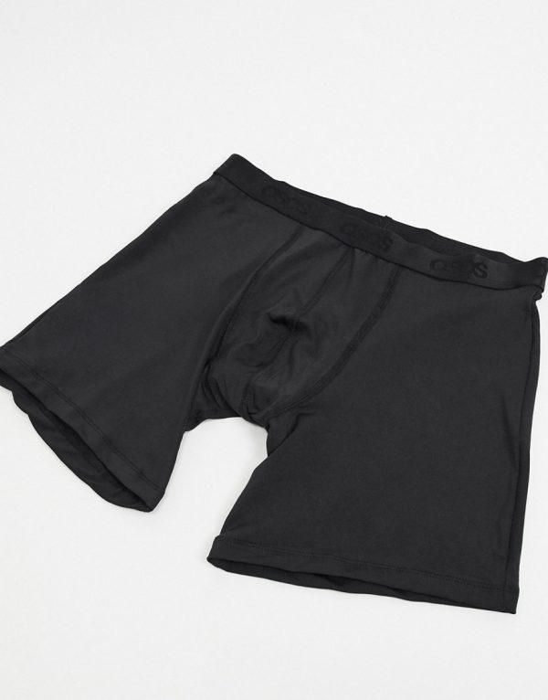 ASOS DESIGN longer length trunks in black microfiber