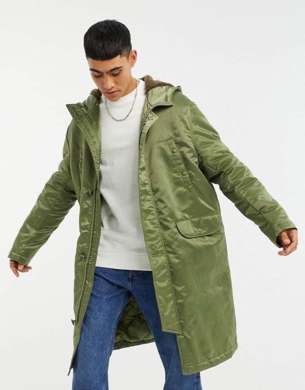 ASOS DESIGN longline parka jacket in high shine green nylon