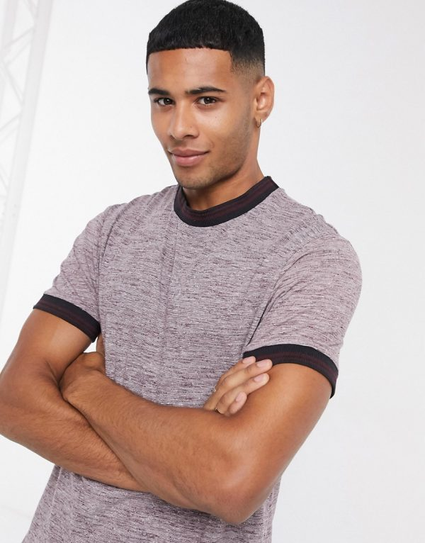 ASOS DESIGN longline t-shirt with curved hem and tipping in burgundy inject fabric-Red