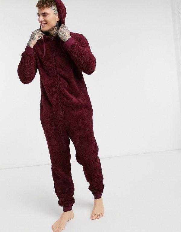 ASOS DESIGN lounge onesie in burgundy fleece-Red