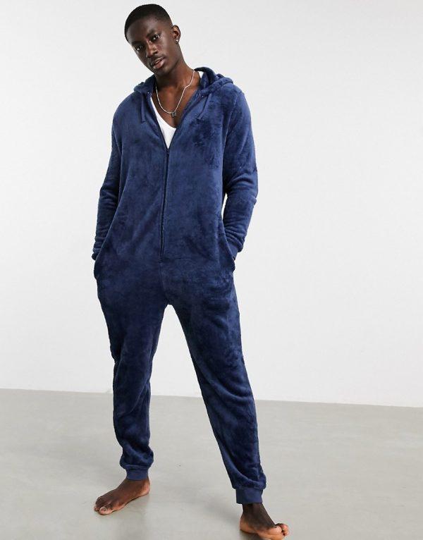 ASOS DESIGN lounge onesie in navy fleece