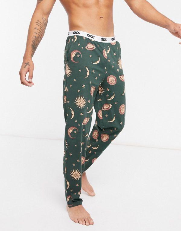 ASOS DESIGN lounge pants in star print-Green