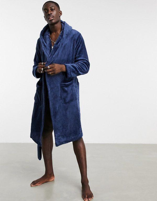 ASOS DESIGN lounge robe in navy fleece