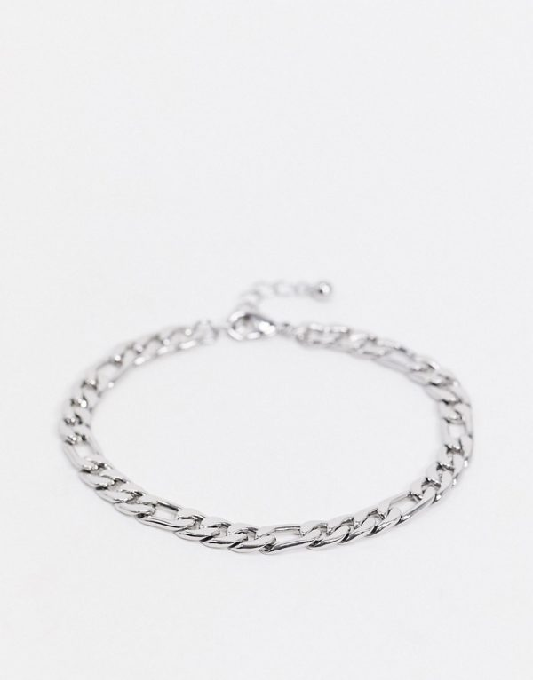 ASOS DESIGN midweight 6mm figaro chain bracelet in silver tone
