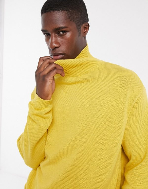 ASOS DESIGN midweight cotton funnel neck sweater in mustard-Yellow
