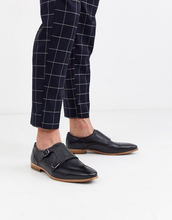 ASOS DESIGN monk shoes in black leather with natural sole