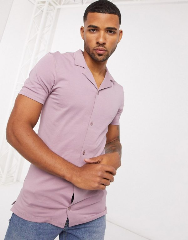 ASOS DESIGN muscle fit jersey shirt in purple