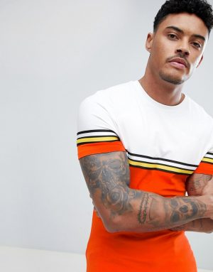 ASOS DESIGN muscle fit longline t-shirt with bright color block and taping in orange-Red