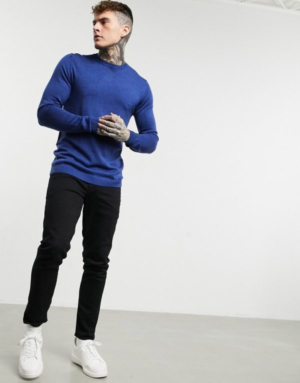ASOS DESIGN muscle fit merino wool crewneck sweater in mid blue