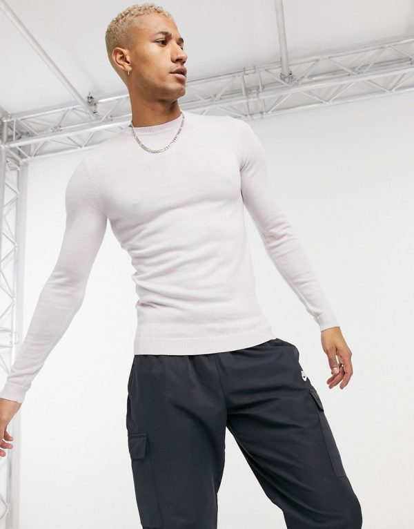 ASOS DESIGN muscle fit merino wool crewneck sweater in oyster gray-Grey