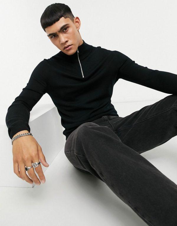ASOS DESIGN muscle fit merino wool half zip sweater in black