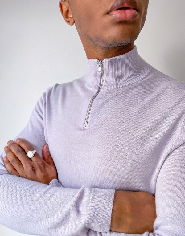 ASOS DESIGN muscle fit merino wool half zip sweater in light gray-Grey