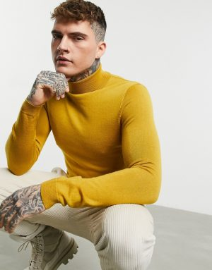 ASOS DESIGN muscle fit merino wool rollneck sweater in mustard-Yellow