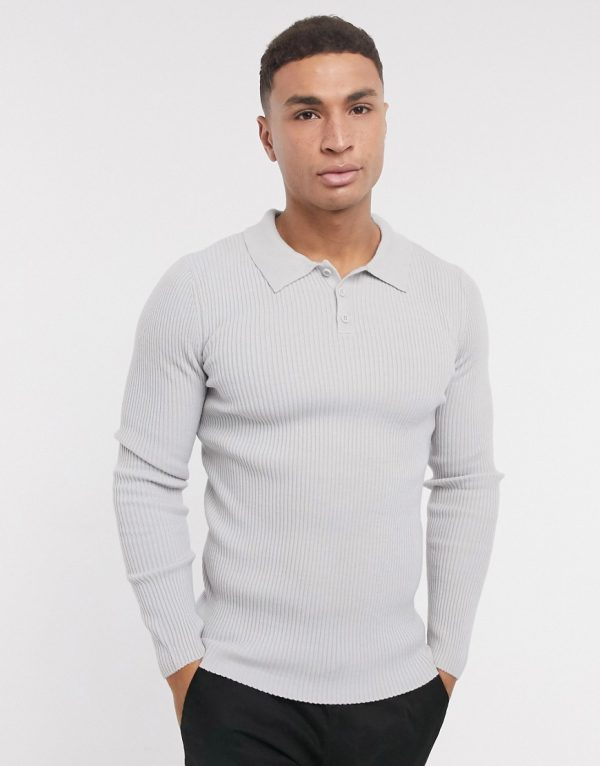 ASOS DESIGN muscle fit ribbed polo in light gray-Grey
