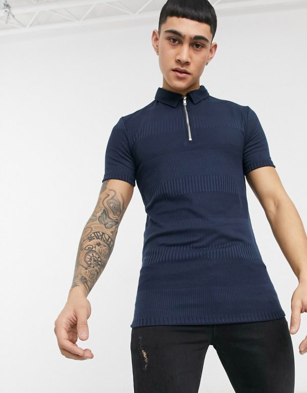 ASOS DESIGN muscle fit short sleeve polo in fancy rib in navy
