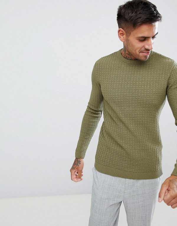 ASOS DESIGN muscle fit textured crew neck sweater in khaki-Green