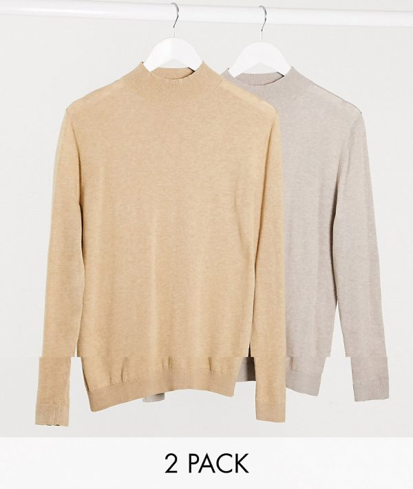ASOS DESIGN muscle fit turtle neck multipack in sand and putty-Neutral