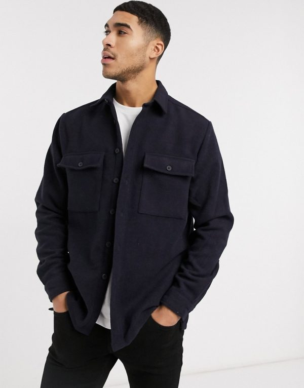 ASOS DESIGN navy wool mix overshirt with double pockets