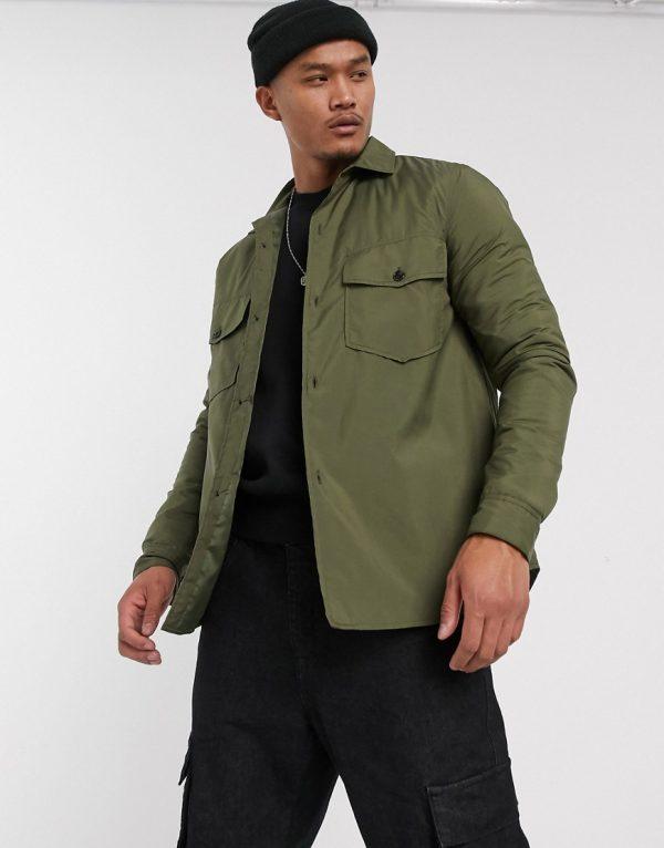 ASOS DESIGN nylon wadded overshirt in khaki-Green