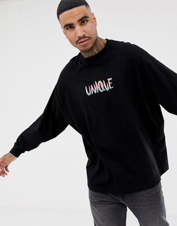 ASOS DESIGN organic cotton oversized long sleeve t-shirt with unique text print-Black