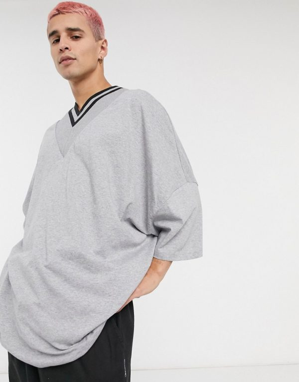 ASOS DESIGN organic extreme oversized super longline t-shirt with deep v tipped neck in gray marl-Grey