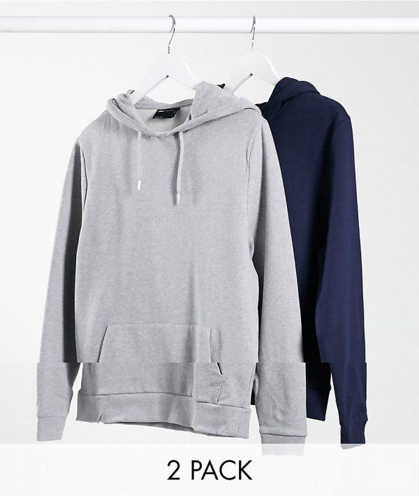 ASOS DESIGN organic hoodie 2 pack in navy/gray marl-Multi