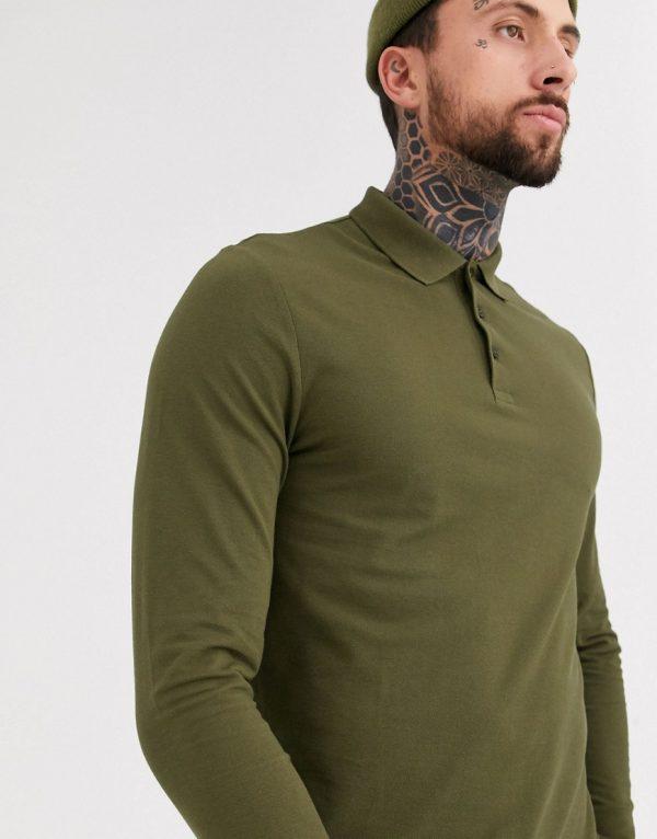 ASOS DESIGN organic long sleeve pique polo in khaki-Green
