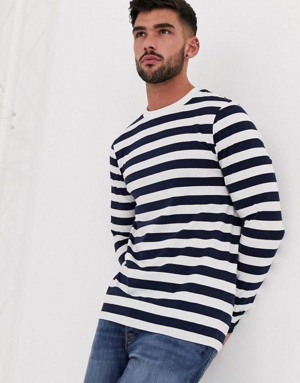ASOS DESIGN organic long sleeve skinny striped T-shirt in navy