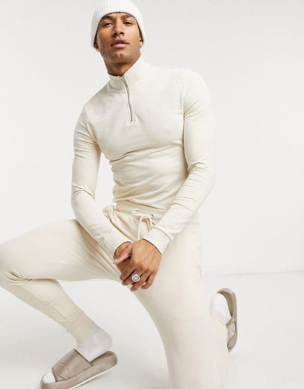 ASOS DESIGN organic muscle tracksuit with half zip sweatshirt in beige-Neutral