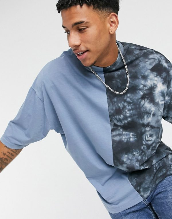 ASOS DESIGN organic oversized longline spliced t-shirt with half sleeve in blue tonal tie dye