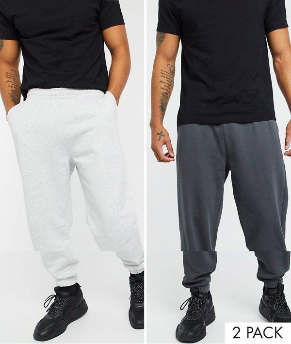 ASOS DESIGN organic oversized sweatpants 2 pack in washed black/white marl-Multi