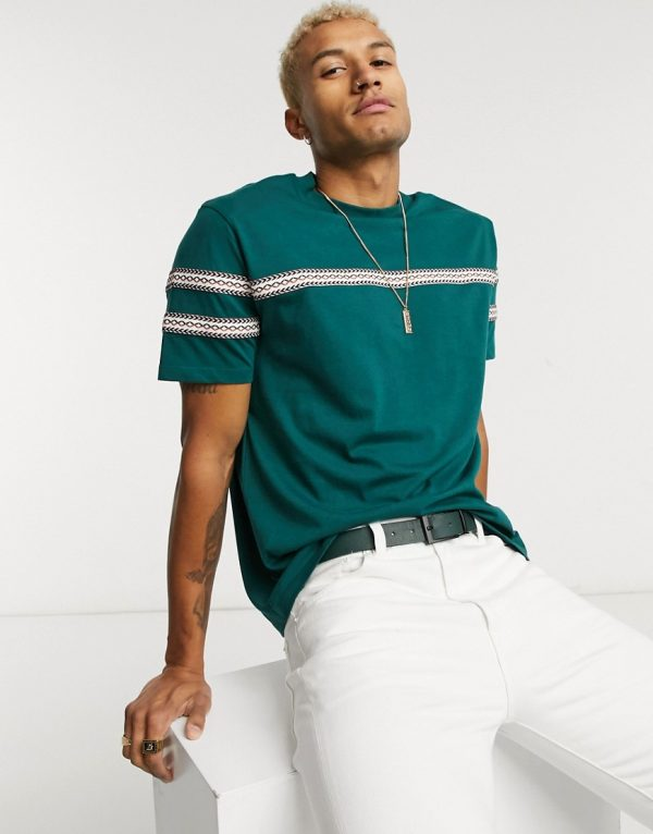 ASOS DESIGN organic relaxed t-shirt with Aztec taping in dark green
