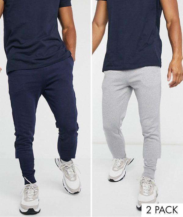 ASOS DESIGN organic skinny sweatpants 2 pack navy/gray marl-Multi
