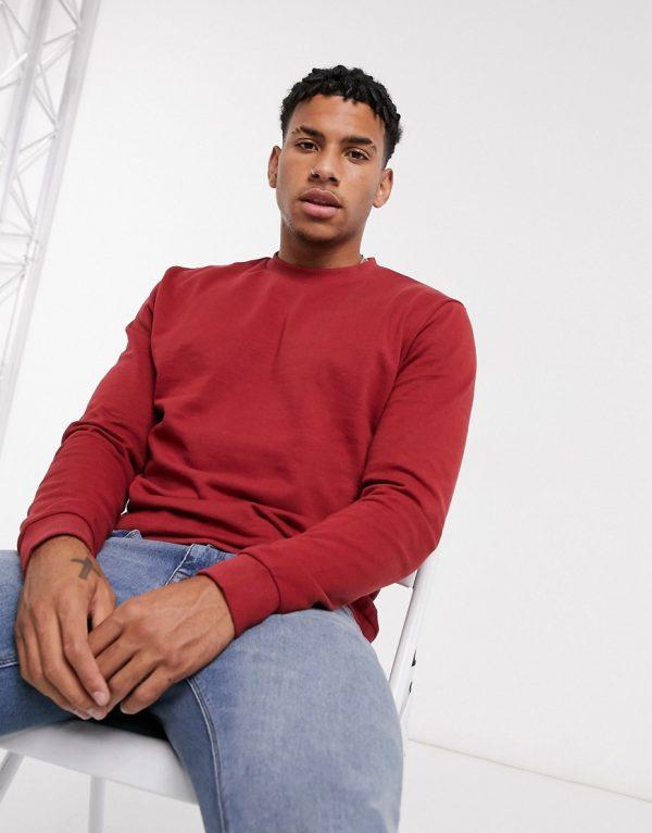 ASOS DESIGN organic sweatshirt in red-Neutral