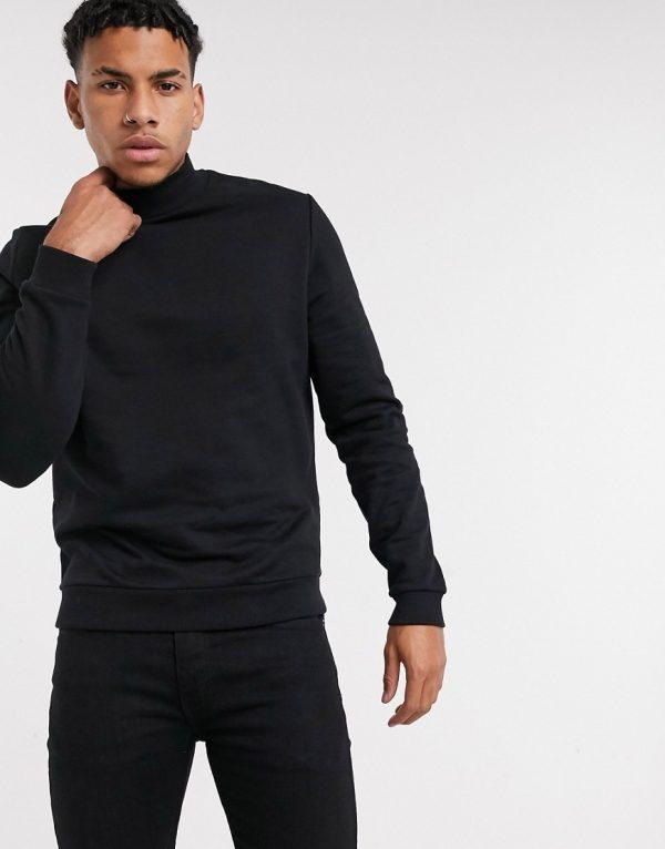 ASOS DESIGN organic turtleneck sweatshirt in black