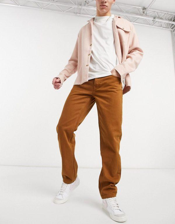 ASOS DESIGN original fit jeans in mustard-Yellow