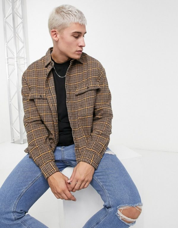 ASOS DESIGN overshirt in brown heritage check with double pockets