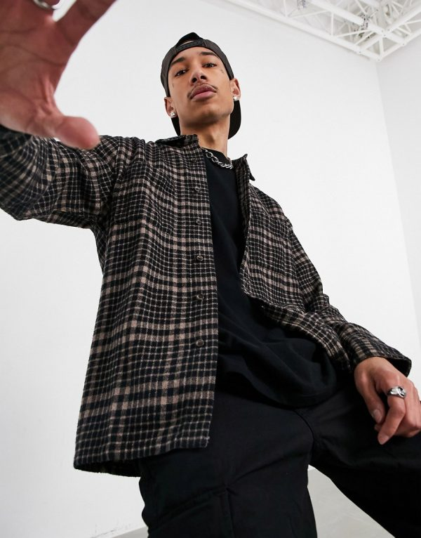 ASOS DESIGN overshirt in brown heritage check with patch pockets